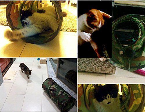 Камуфляж Cat туннель складной игрушки любимчика забавные игрушки котенок играть туннель, включая подвесные шары камуфляж цвет