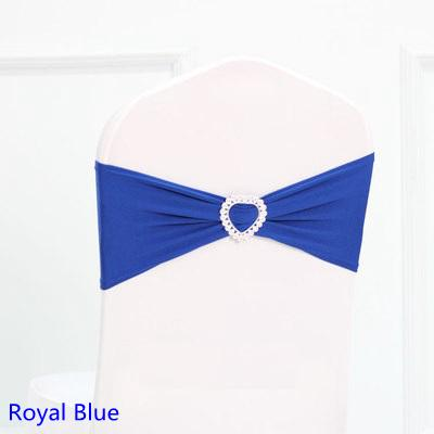Hot Sale Royal Blue Color Spandex Sash Lycra Bands Stretch Elastic Chair Ribbon Sash With Love Heart Buckle Wedding Hotel Home Banquet Party