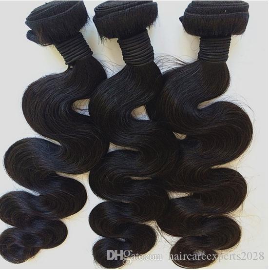 Brezilyalı Toptan Ürünler Vücut Dalga Saç Uzantıları Natrual renk 10 '' -30 '' 3 demetleri Mix Uzunluğu 100 g / adet Brezilyalı İnsan Saç Atkı,