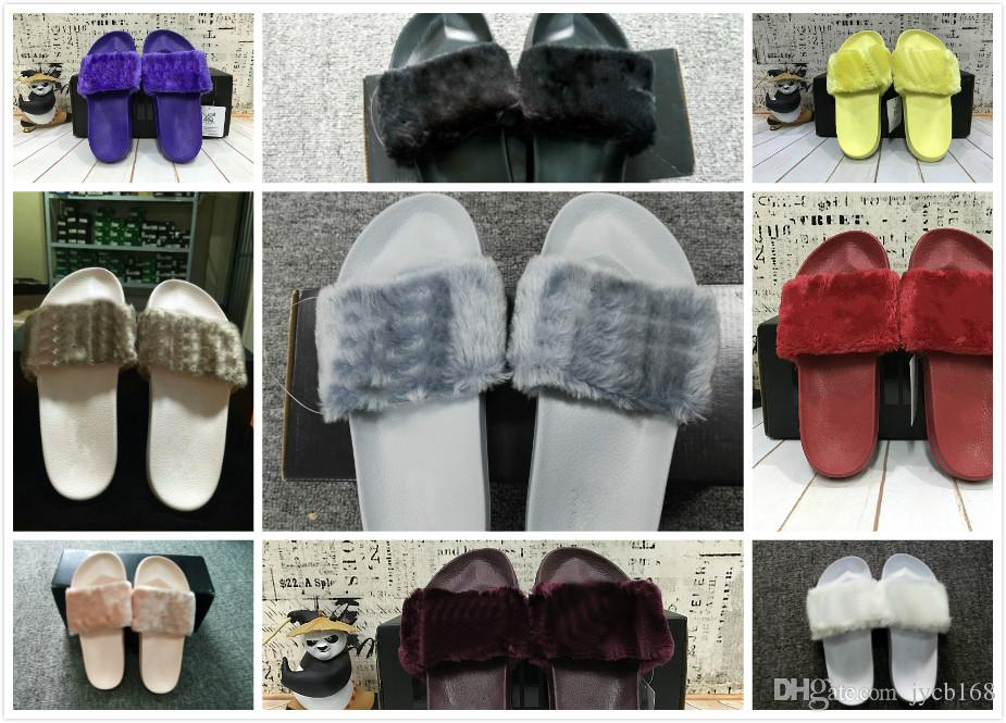 the best attitude a2a4b aced0 2017 Cheap RIHANNA LEADCAT FENTY Slipper Faux Fur Slide Sandal Fashions  Women Fenty Slippers Black Slide Sandals Fenty Slides Free shipping