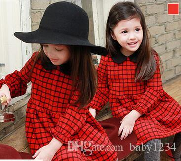 Hot style children's clothes The spring and autumn period and the children red plaid lapel princess dress is han edition cotton skirt