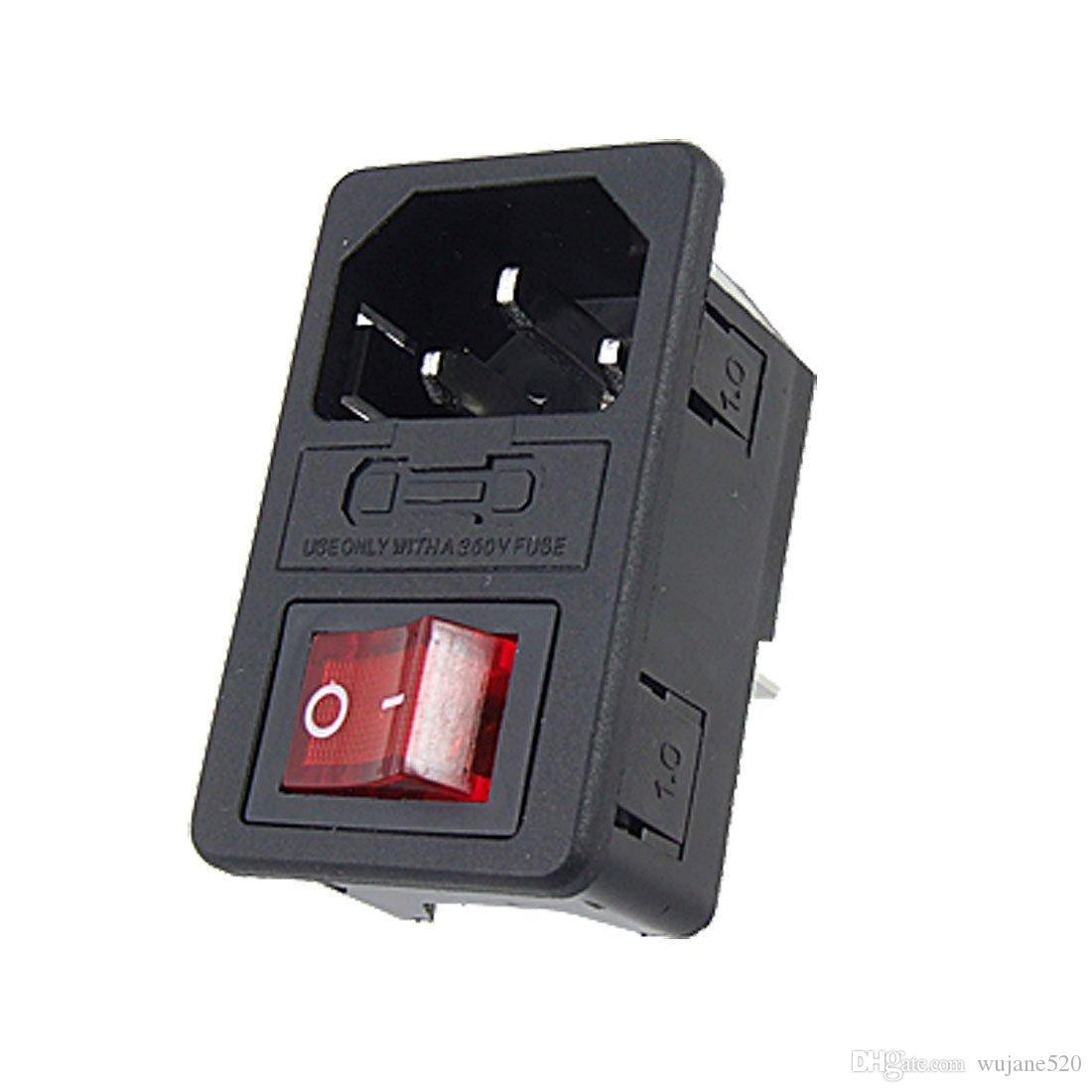 A tomada masculina do soquete do conector de poder do Pin do módulo de entrada 3 com fusível comuta IEC320 C14 vermelho / verde para Controlle industrial
