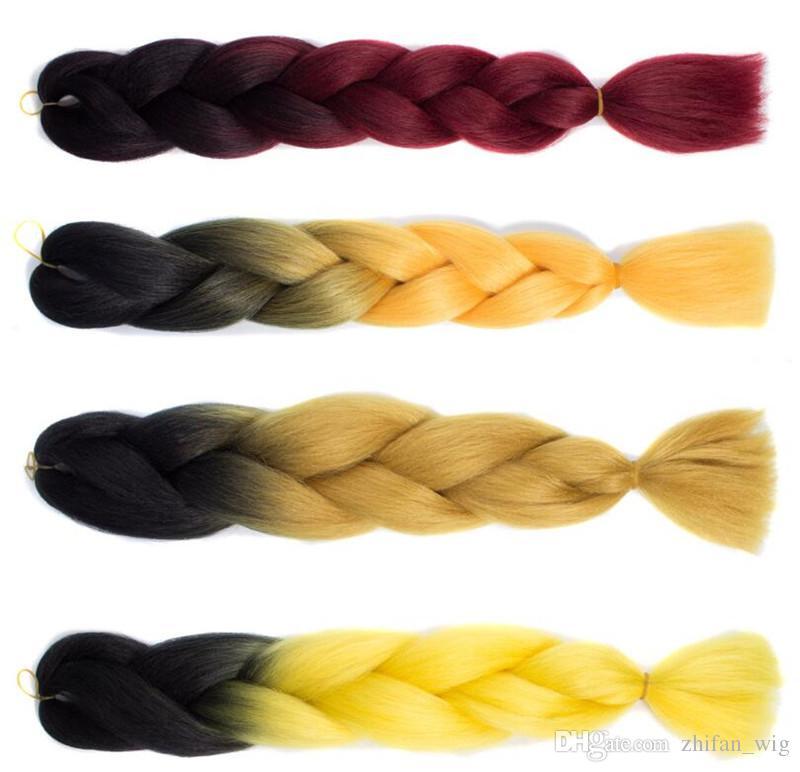 ZF Popular Tranças De Crochê 24 Polegada 100G Trança de Cabelo Em Bundles Para As Mulheres Negras Colorido Africano Americano Moda Venda Quente