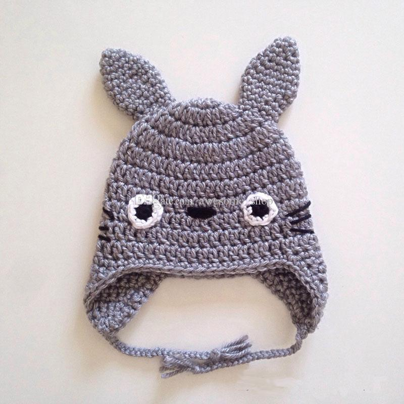 My Neighbor Totoro Hat,Handmade Knit Crochet Baby Boy Girl Cartoon Animal Earflap Hat,Child Winter Hat,Toddler Infant Photo Prop