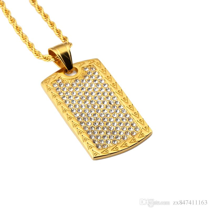 Wholesale High Quality Fashion Jewelry Men Dog Tag Pendant Necklace