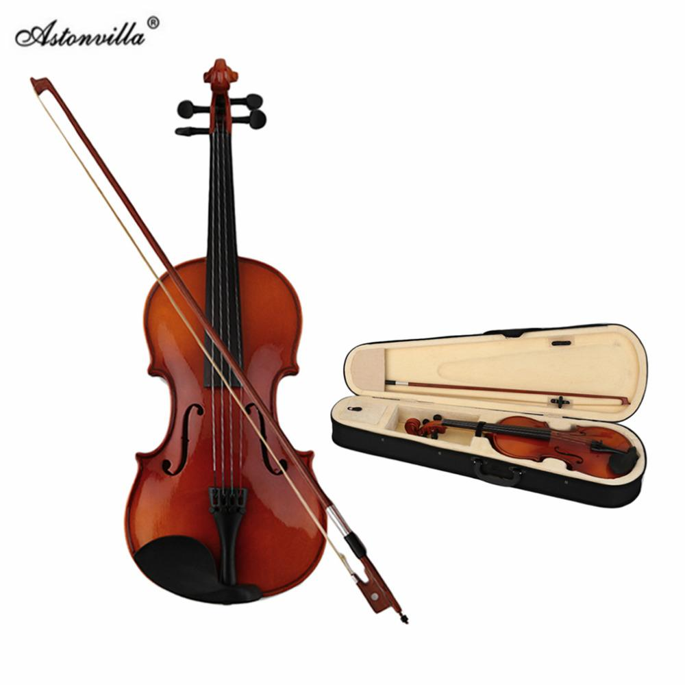 wholesale Astonvilla Spruce Solid Wooden 4/4 Violin Lacquer Light Fiddle  4-String Instrument Maple Solid Wooden Both Beginner Top Quality