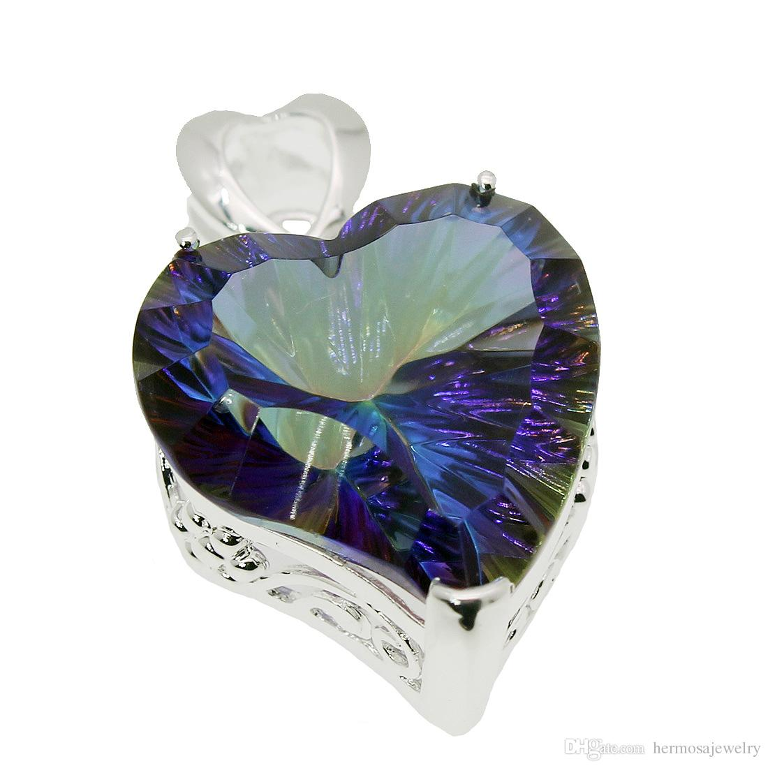 "Heart Pendants Necklace 925 Sterling Silver Rainbow Fire Mystic Topaz Hermosa Women Charms Jewelry 1 1/4"" INCH"