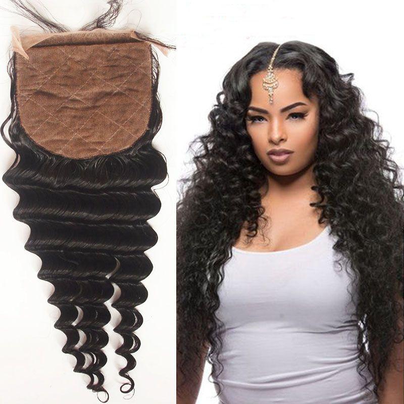 f90639cb2898ee Unprocessed Virgin Human Hair Silk Closure Deep Wave Natural Color 8A Grade  Malaysian Silk Base Closure Free Middle 3 Way Part Cheap Silk Lace Closure  Cheap ...