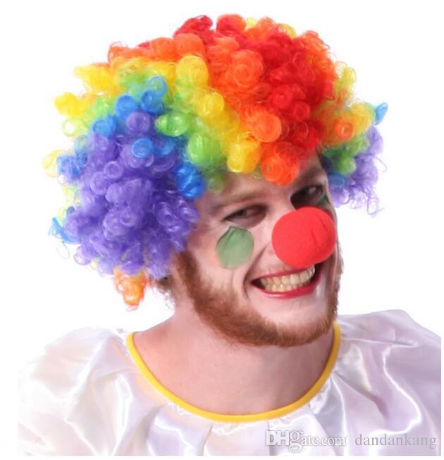 Palhaço colorido Fãs Carnaval Perucas Cosplay Circus peruca de cabelo engraçado Fancy Dress Stage Joker Adulto Criança Festival Prop Atacado