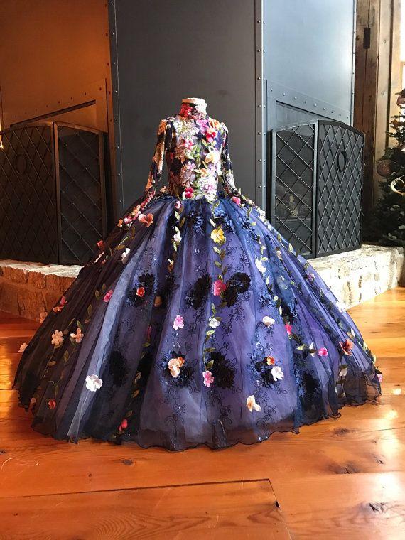 2017 Pretty Fairty Flower Girls Dress High Neck Long Sleeve 3D Floral Apliques Girls Pageant Dresses Lovely Hand Made Flowers Birthday Dress