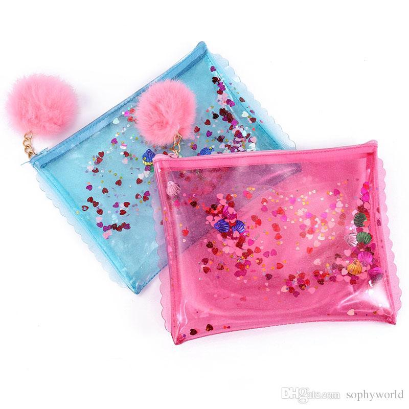 Sequins Women Day Clutch Bags Tassels Pom Poms Jelly Bag Pvc Mini