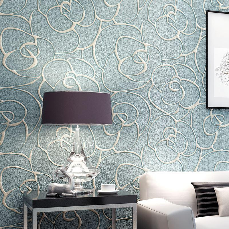 European Style Non Woven Fabric Wallpaper Wall Covering Roll Home Decor  Living Room Bedroom 3d Deep Embossed Wall Paper Roses Free Wallpaper  Computer ...