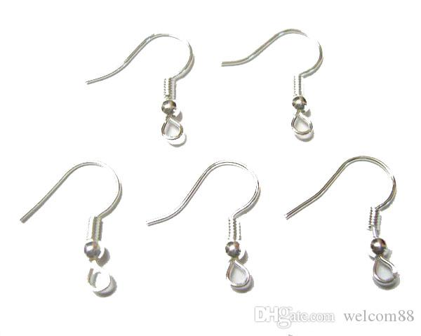 200 unids / lote Silver Plated Earrings Hooks hallazgos componentes para DIY Craft Jewelry 15mm W25 envío gratis