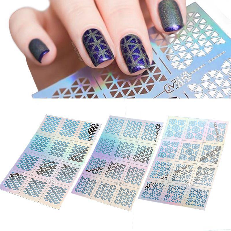 12 Tips/Sheet Fish Scale Nail Vinyls Irregular Triangle Grid Pattern ...