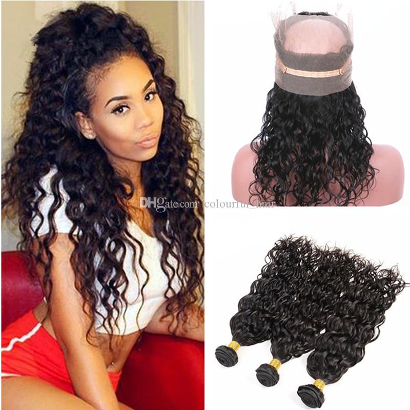 Wet And Wavy 360 Lace Frontal Closure With Bundles Virgin Peruvian