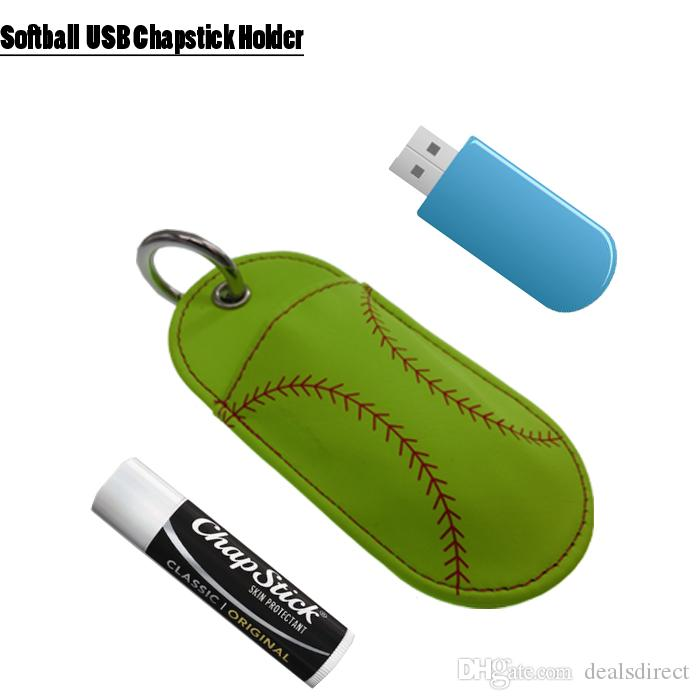 Baseball Softball Chapstick Lederhalter Schlüsselbund