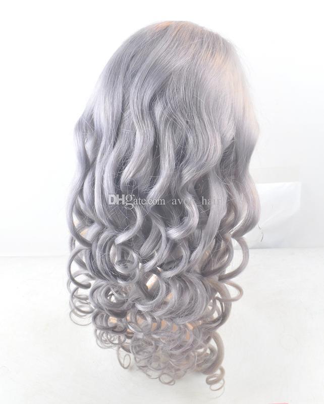 Parte gratis Grigio Brasiliano Human Human Hair Glueless Parrucca piena pizzo con i capelli del bambino 8a Sliver Grigio Grigio Body Wave Wigs Parrucche anteriori del pizzo 130% Densità