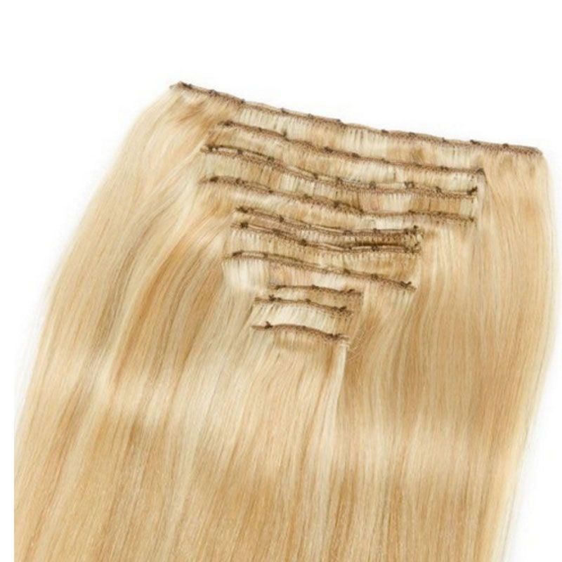 Highlight Clip Indian Human Hair Extensions 27/613 Set Cheap Straight Remy Clip In Hair Extensions 120g