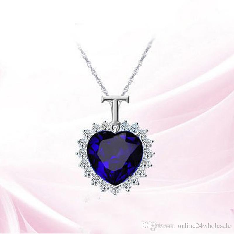 Fashion Women Lady Heart Of Ocean Titanic Blue Crystal Pendant Elegant Necklace for mon girlfriend gift
