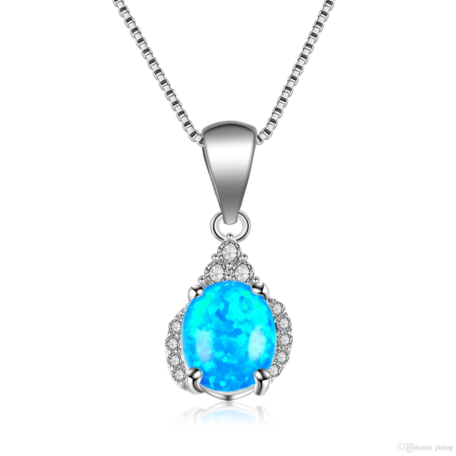 img gold opal solid green rewards bluegreen product pendant necklace white electric blue
