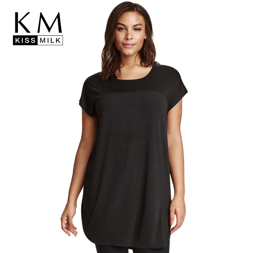 7742a4ba93 Wholesale- Kissmilk Plus Size Women Clothing Solid Casual Tops Loose ...