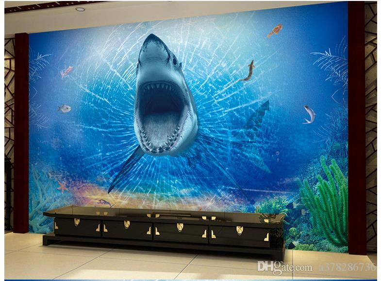 High Quality Custom 3d ceiling wallpaper murals wall paper 3D horror great white shark TV backdrop ceiling murals wall living room decor
