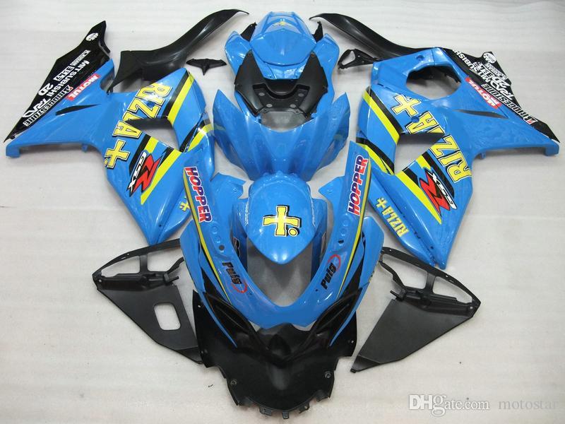 Spritzguss Verkleidungssatz für Suzuki GSXR1000 09 10 11-15 blau schwarz Verkleidungssatz GSXR1000 2009-2015 OT06
