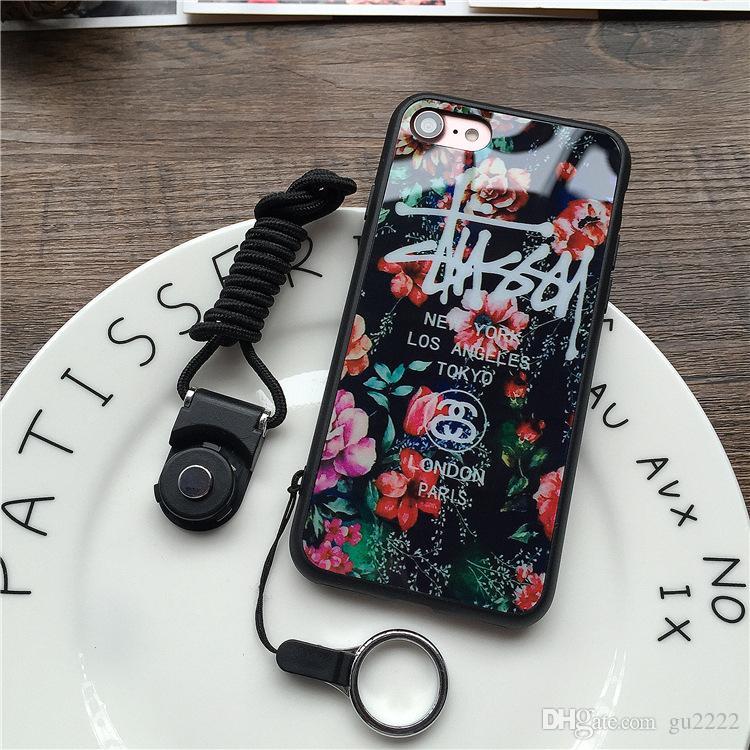 Casos de telefone de luxo bonito Flores dos desenhos animados Floral Silicone rígido Capa Coque Funda Para iPhone X 6 capa para iphone 6S 7 7 Plus Capa