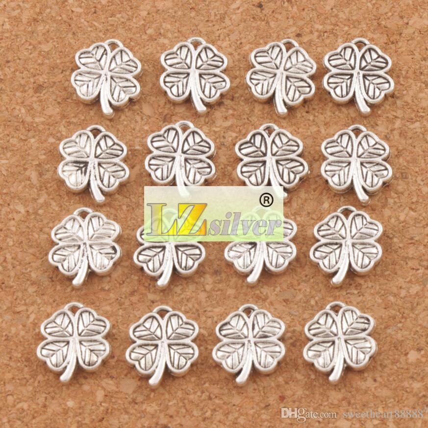 Coração Pequeno Trevo Encantos 200 pçs / lote Antigo Pingentes De Prata Jóias DIY L576 12.2x10.6mm Jóias Achados Componentes