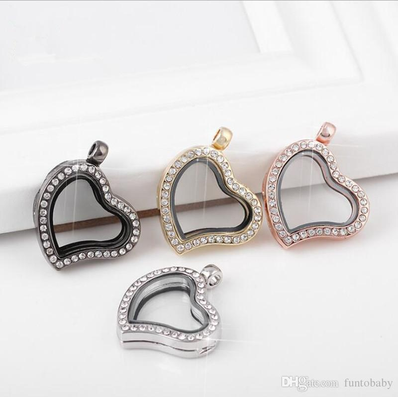 5PCS Floating Locket for Charms Crystal Heart Magnetic Living Memory Glass Locket Pendant Necklace Not Including Chain