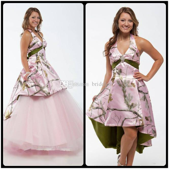Discount Pink Camo Wedding Dresses 2017 With Detachable Skirt Custom Made Country Style Bridal Gowns Train Winter Beach