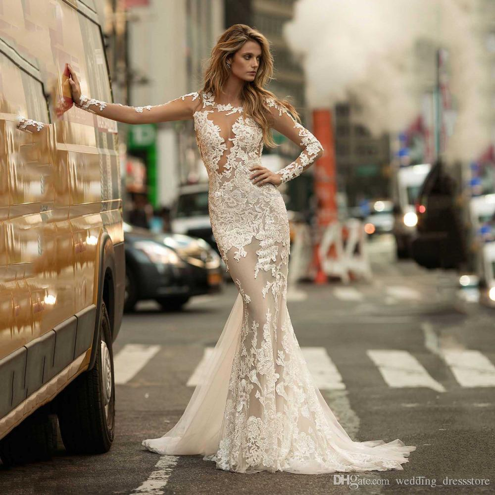 Sexy See Though Mermaid Celebrity Dresses Scoop Neck Long Sleeve Appliques Illusion Evening Party Gowns Trumpet Red Carpet