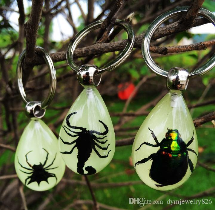 12pc new design real balck spiderinsect glowing in dark drop key-chains