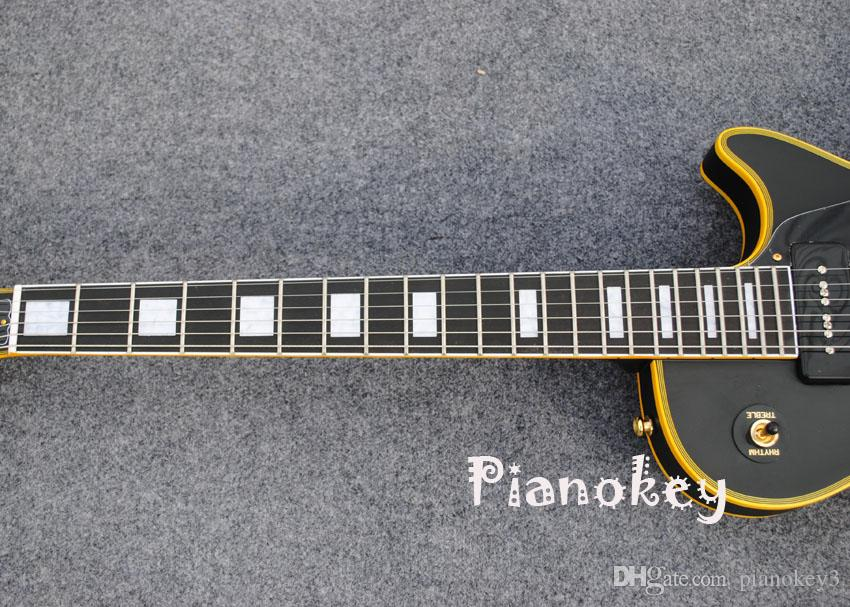 Mat siyah renk özel elektro gitar, sarı bağlama, abanoz klavye, P90 manyetikler gitar, ücretsiz kargo