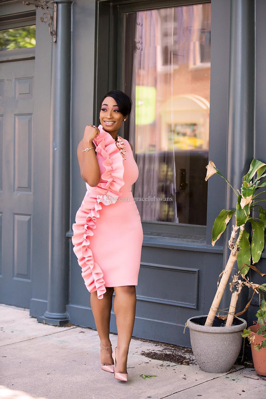 Knee Length Pink Cocktail Dresses O Neck Straight Short Evening ...