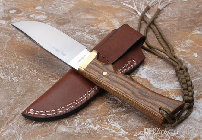 High End Wild Boar Survival Straight Knife VG10 Satin Blade Ebony Handle Outdoor Camping Hunting Fixed Blade Knives