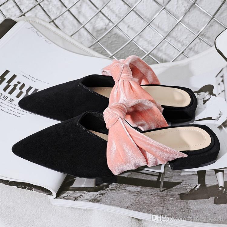 Véritable Cuir Rose Diapositives 2017 Date Mixte Couleur Mules Chaussures Dame Rose Papillon Noeud Belle Pantoufle Bas Talons Pantoufles Femme