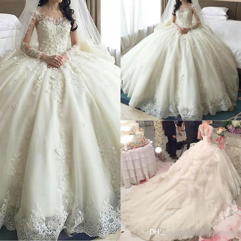 코트 트레인 Vestidos 레이스 웨딩 드레스 환상적인 시크한 목에 긴 소매 뒤 덮힌 단추 신부 가운