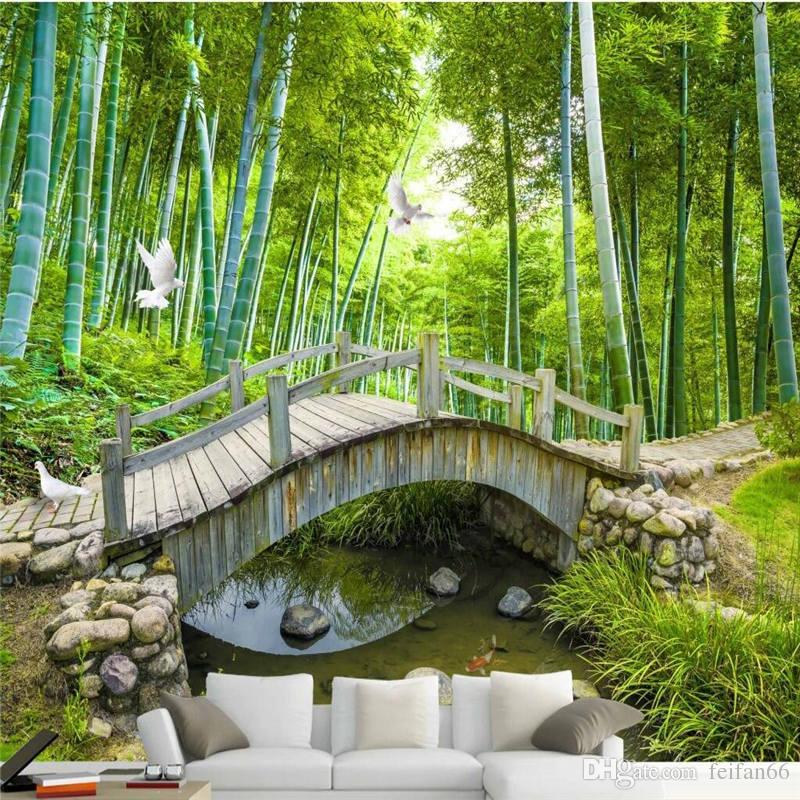 Small Bridges: Small Bridge Water Bamboo Forest Photo Wall Paper Custom