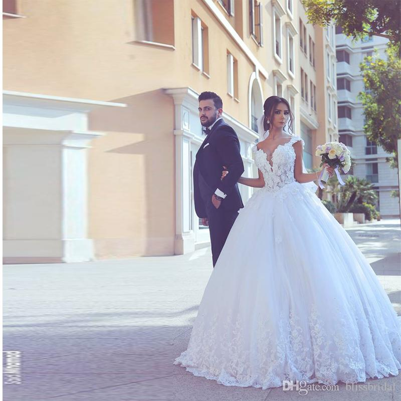 Illusion Lace Ball Gown Wedding Dresses Sweetheart Applique Organza ...