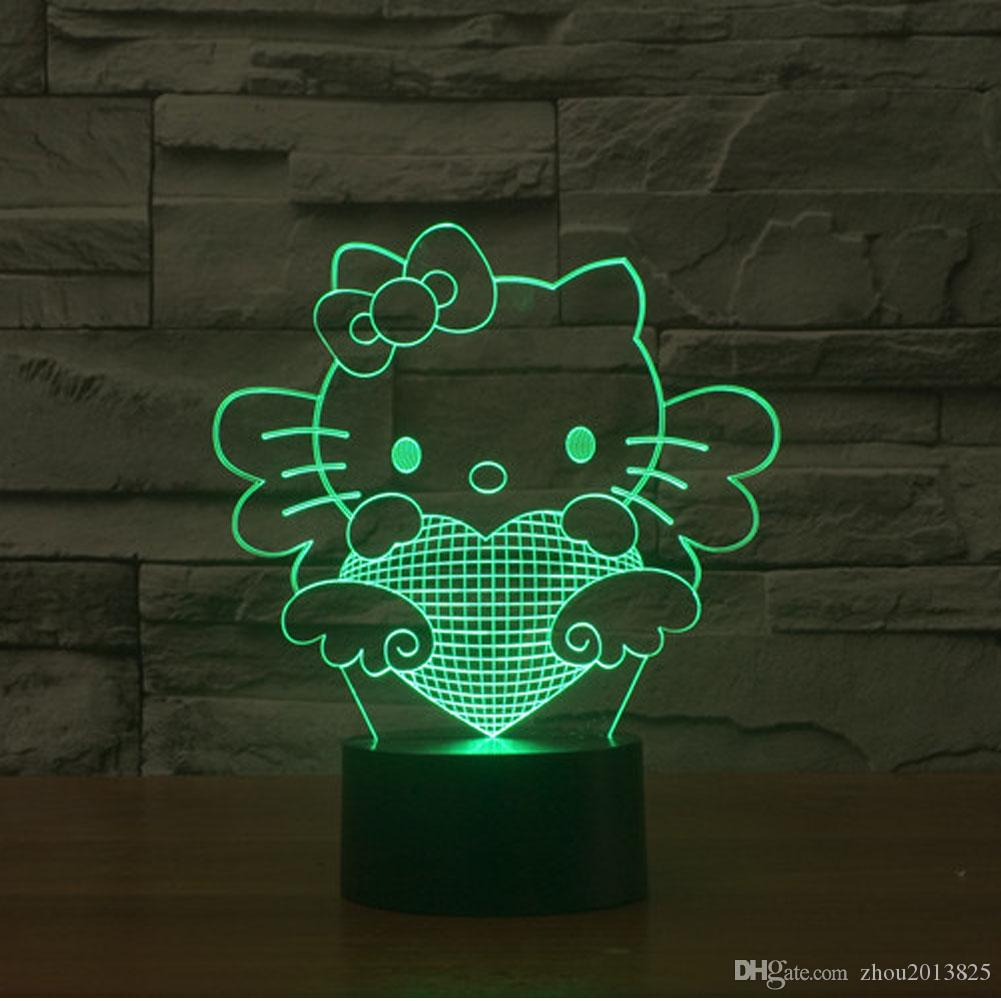 2018 3d Desk Lamp Hello Kitty Gift Acrylic Night Light Led  # Bonjour Muebles