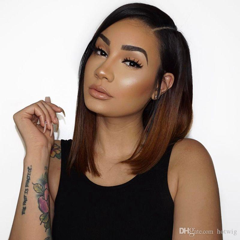 7A Full Lace Ombre Human Hair Wigs Brazilian Virgin Hair Straight Ombre wigs #1b/30 Lace Front Wigs for black women