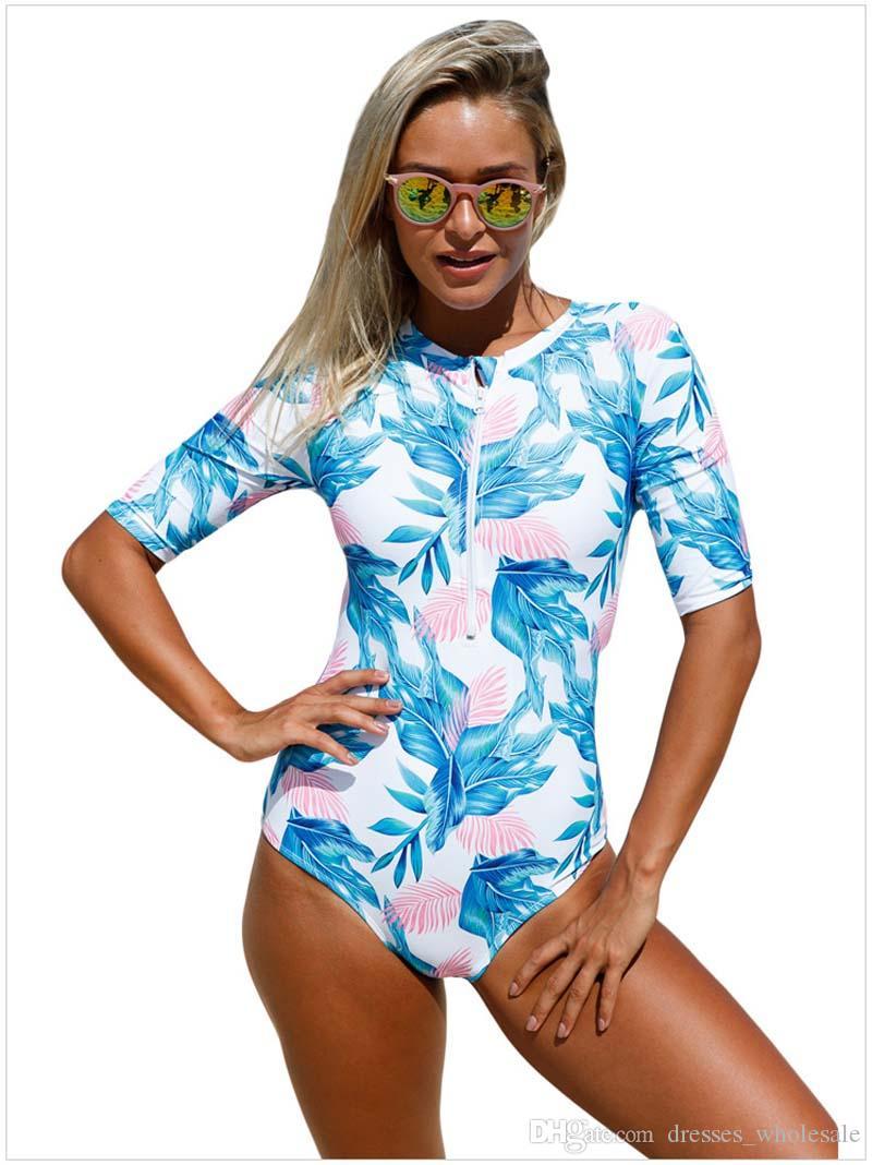 2017 Sexy Plus Size Zipper One Pezzi Swimsuit Women Ruffle Stripes Stampa Costumi da bagno Large Size Monokini Costumi da bagno XL