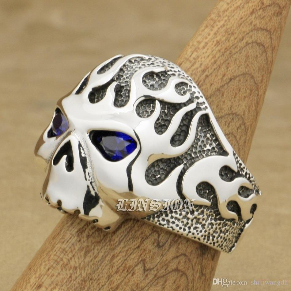 LINSION Huge Heavy Purple CZ Eyes Fire Skull 925 Sterling Silver Mens Biker Rocker Punk Ring 8D306 US Size 7 ~ 15