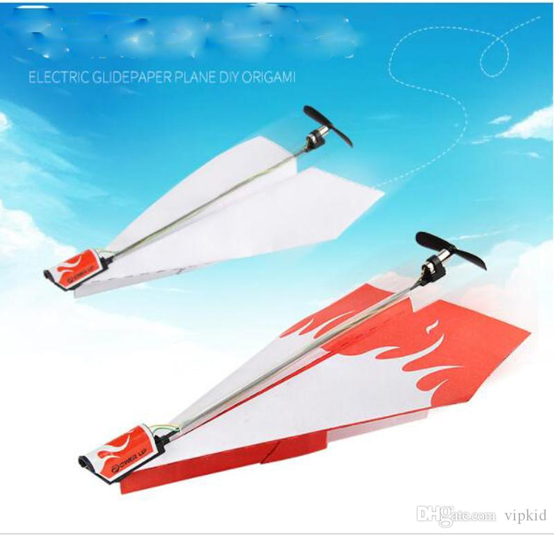 electric glide paper plane DIY origaml Model folding of electric paper airplane for children's toys DIY Paper power toys