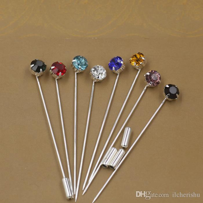 High Quality Mixed Colors Fashion Simple Rhinestone Lapel Pins, Metal Silver Plated  Crystal Stick Long Brooch Pins Jewelry For Men Suit And Women Bridal Lapel  Pin Brooch ...