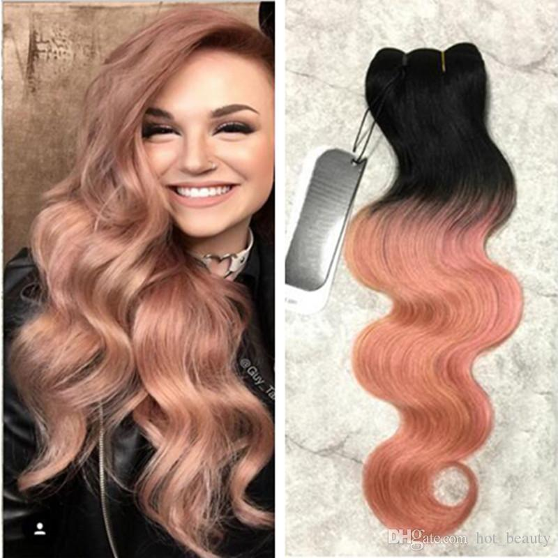 2018 Fashion Two Tone Colored 1b Rose Gold Ombre Human Hair Weave