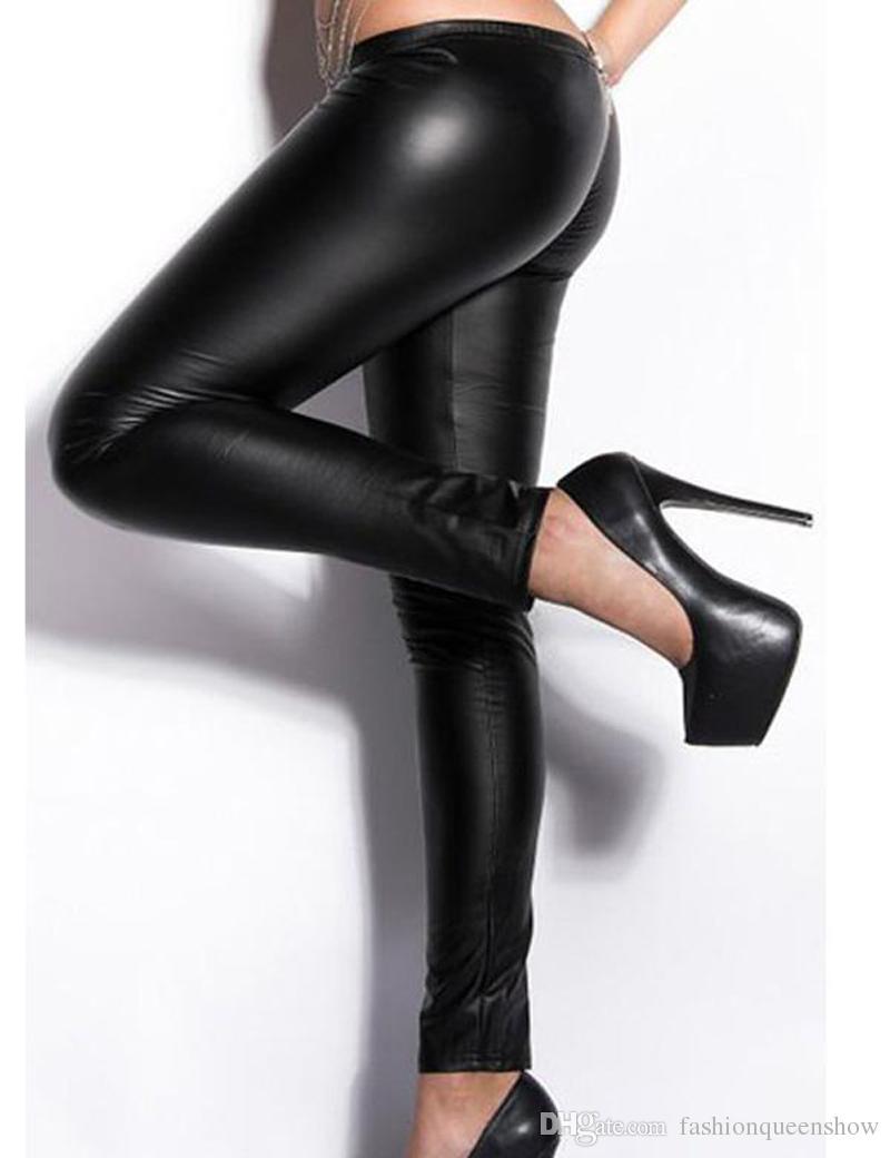 Leggings Elastico in vita da donna Sexy Pantaloni in ecopelle nera con cerniera skinny e gambaletto Pantaloni gotici punk