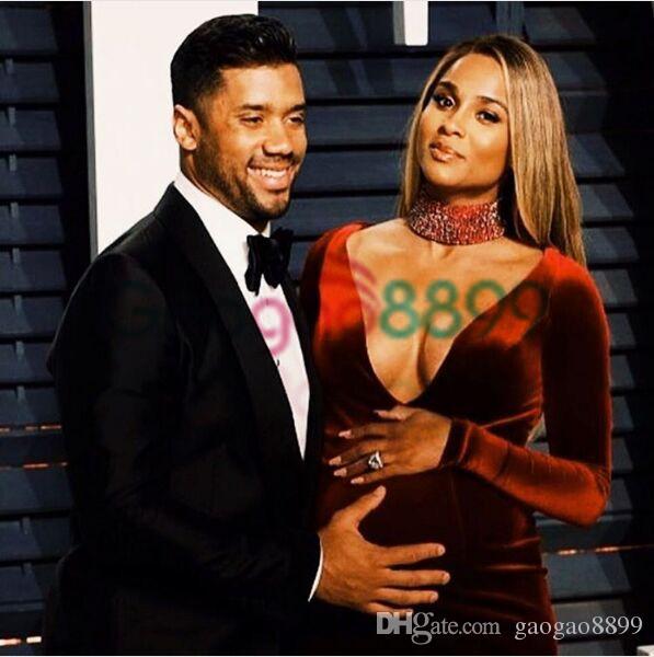 2019 Oscar schwangere Mutterschaft Ciara Promi Roter Teppich Kleider Burgunder Samt hohe Ansatz wulstige lange Hülse Mermaid Arabisch Abendkleid