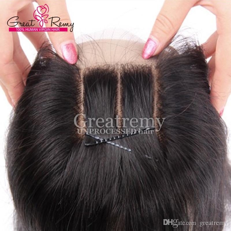 Greatremy pre-plocked 3 Part Lace Closure Indiska Human Hair 10-18Inch Straight Virgin Hair Closure 4 * 4 Gratis frakt endast till oss